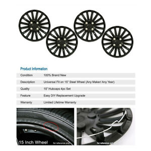 4pcs R15 Inch Cap Lug Rim Skin Matte Black Wheels Cover Hubcap For Nissan