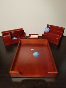 4 Pc Set Brand New Rolodex Wood Tones Ltr Tray Organizer Sorter Card Holder