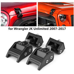 2pc Hood Lock Latch Bracket Buckle Kit Hold Down For Wrangler Jk Unlimited 07 17
