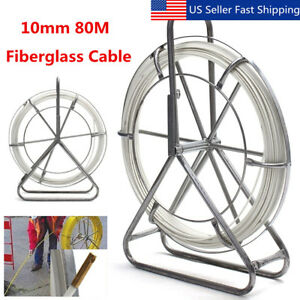 10mm 80m Fish Tape Fiberglass Wire Cable Running Rod Duct Rodder Fishtape Puller