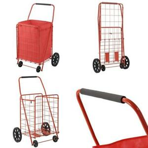 Extra Large Heavy Duty Shopping Carts Rolling Grocery Laundry Folding 110 Lbs