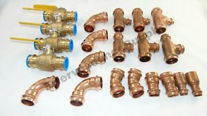 lot Of 23 1 Propress Copper Fittings tees Elbows Press Ball Valves