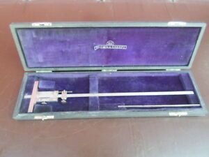 Vtg Brown Sharpe 600 12 6 Depth Vernier Caliper Gage In Original Case