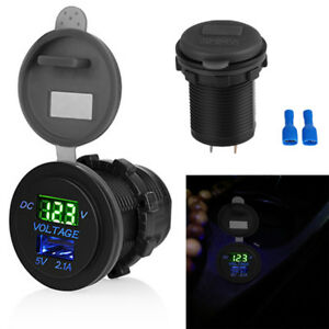5v 2 1a Usb Car Electric Charger Volt Meter Panel Socket Adapter Universal 1x