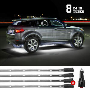 Car Truck Led Under Glow Neon Strip Lights Kit 3 Pattern 8pc 24in Tube White