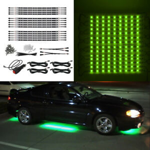 14pc Green Car Truck Underglow Under Body Neon Accent Glow Led Light 12 Strip