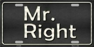 Mr Right Novelty Vanity License Plate Tag Sign