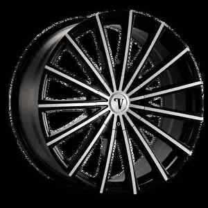 22 Inch Velocity Vw10 Black Machine Wheels Rims Only asanti Lexani Forgiato