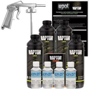 U pol Raptor Bright Silver Urethane Spray on Truck Bed Liner W free Spray Gun 4l