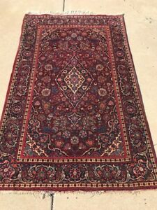 Traditional Persian Kashan Rug Fine Kork Wool Antique 5 X7 C 1940s