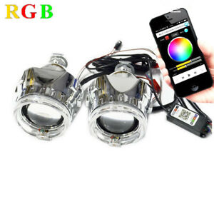 2 5inch Car Bi Xenon Hid Projector Lens Rgb App Bluetooth Function Angel Eyes