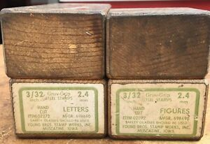 Young Bros Gruv grip Steel Stamps Letters Numbers 3 32 2 4mm Usa Good Cond