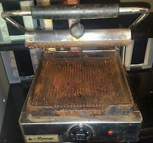 Marengo 4 2 Commercial Panini Press Sandwich Needs Cleaning Works Great