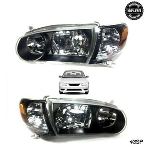 93 97 Toyota Corolla Black Headlights Focos And Corner Lamps Set Jdm Glass 4 Pcs