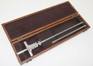 Starrett 448 12 Vernier Depth Gauge Gage 0 12 001 With Wooden Box Vintage