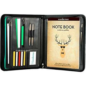 Padfolio Portfolio Bonus Writing Pad Professional Interview Pu Leather Zippered
