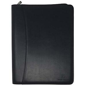 Zippered Leather Business Portfolio Padfolio Professional Black Pu Binder 10 5
