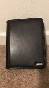 Franklin Covey 7 Ring Planner Organizer Black Full Grain Leather Zip Around