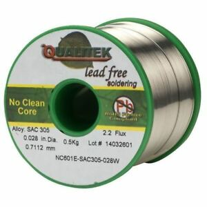 Qualitek Solder Wire Sac305 Nc601 Rosin Free No Clean Flux 2 2 0 71mm 500g Reel
