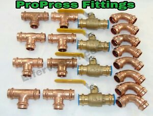 lot Of 20 3 4 Propress Copper Fittings tees Elbows Press Ball Valve