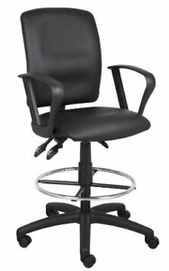 Boss Drafting Stool Chair Black Reception Desk Chair Tall Office Chair W Arms