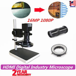 16mp 1080p Hdmi Digital Industry Microscope Set Camera Video Zoom Lens Led Bulb