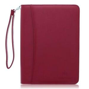 Small Zippered Business Padfolio With Junior Legal Notepad Burgundy Pu Leather