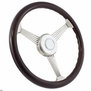 Steel String Banjo Steering Wheel Dark Wood Grip 380mm 15 3 5 6 Hole Hubs