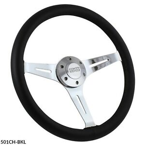 15 Chrome And Black Leather Steering Wheel Kit For 1969 1994 Chevy Camaro Ss
