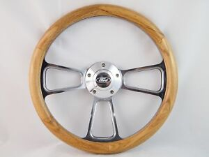 65 69 Ford Ranchero 14 Unstained Oak Wood Billet Polished Steering Wheel Set