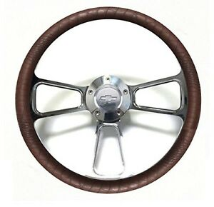 1955 1956 Chevrolet Bel Air Nomad 14 Brown Gator Chrome Steering Wheel Kit