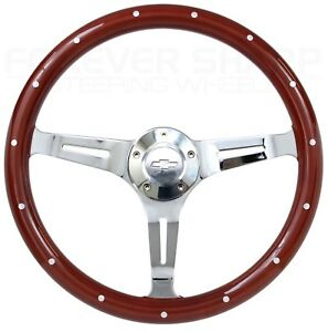 1948 1959 Chevy Pick up 15 Mahogany Chrome Steering Wheel Adapter Kit