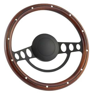 67 69 Ford Galaxie 14 Inch Black 9 Hole Classic Steering Wheel Mahogany Woo