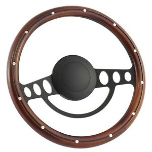 63 5 64 Ford Galaxie 14 Inch Black 9 Hole Classic Steering Wheel Mahogany W