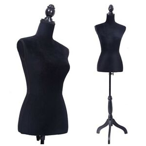 Classic Black Female Mannequin Torso Dress Form Clothing Display W Black Stand