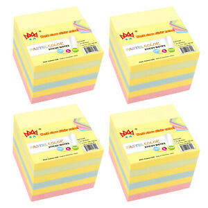 4a Sticky Notes Memo Reminder 4 x4 Pastel Assorted 24 Pads Total 2400 Sheets
