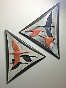 Vintage Mcm Mid Century Modern Pair Triangle Geese Wall Hanging Art Orange Wood