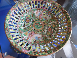 Vintage Chinese Export Rose Medallion Reticulated Small Round Bowl