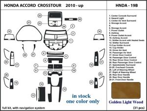 Fits Honda Accord Crosstour 10 11 12 Dashboard Trim Kit Golden Light Wood