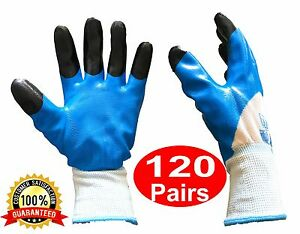 Wholesale Work Safety Gloves Lot With Blue Nitrile Coating Bulk 120 Pairs