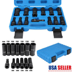 1 2 Drive Impact Socket Hex Bits 13pcs Metric Set Long Air Allen Driver Us