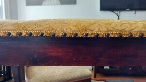 Early 1900s Piano Bench Dark Wood With Gold Fabric Seat And Decorative Beeding