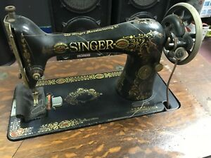 Antique Singer Treadle Sewing Machine Table Cabinet Cast Iron