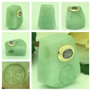 Jade 14kt Yellow Gold Amethyst Hand Carved Chinese Symbol Block Pendant