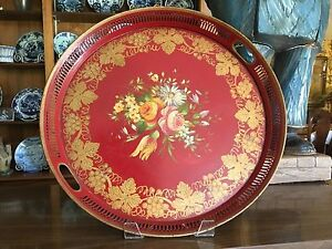 Large French Hand Painted Tole Toleware Tray Red Floral Gold Trim 17 3 4