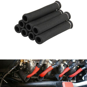 8pcs 2500 Spark Plug Wire Boots Protector Sleeve Heat Shield Cover Black