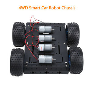 Black 4wd Aluminum Alloy Smart Robot Car Chassis Diy For Arduino Battery Box New