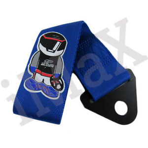 1x Blue Jdm Mugen Racing Drift Rally Car Tow Towing Strap Belt Recovery Hook
