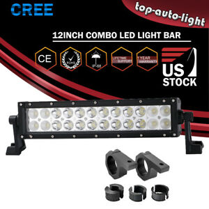 12 Led Fog Light Bar W roll Clamp Mounting Brackets For Can am Maverick X Ds