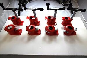 3 4 Wood Gluing Pipe Clamp Set Heavy Duty Pro Woodworking Cast Iron New Four